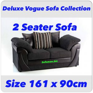 Deluxe Vogue 2 Seater Sofa Black