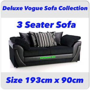 Deluxe Vogue 3 Seater Sofa Black