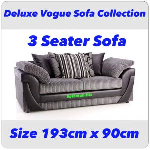 Deluxe Vogue 3 Seater Sofa Grey
