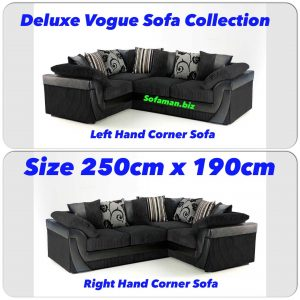 Deluxe Vogue Corner Sofa Black