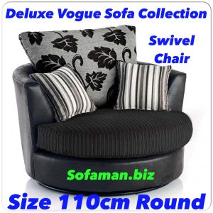 Deluxe Vogue Swivel Chair Black