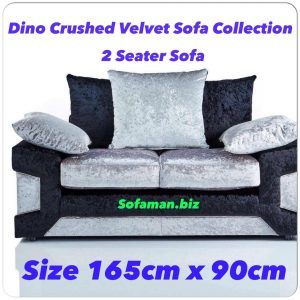 Dino Crushed Velvet 2 Seater Sofa Black:silver