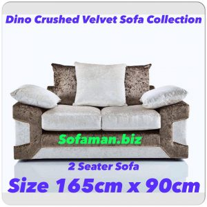 Dino Crushed Velvet 2 Seater Sofa Brown:silver