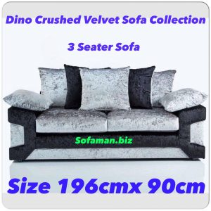 Dino Crushed Velvet 3 Seater Sofa Black:silver