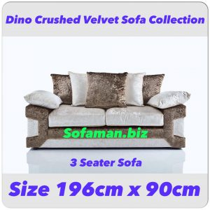 Dino Crushed Velvet 3 Seater Sofa Brown:silver