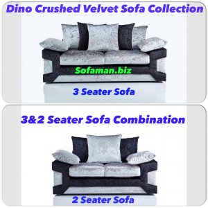 Dino Crushed Velvet 3&2 Seater Sofa Combination