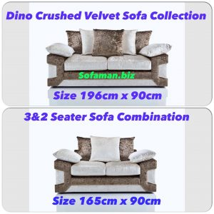 Dino Crushed Velvet 3&2 Seater Sofa Combination Brown:silver