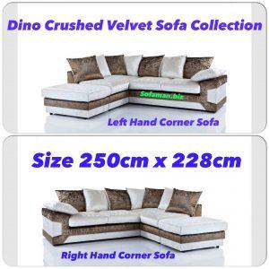 Dino Crushed Velvet Corner Sofa Brown:silver
