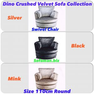 Dino Crushed Velvet Swivel Chair Brown:silver